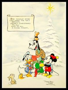 "Antique Disney ""Donald Duck"" c1930s Christmas postcard...""one single star can make the sky bright, Merry Christmas to All and To All A Good Night"""