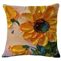 Cotton Linen Pillow Case Oil Painting Sunflowers, Multi, Size Standard