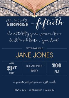 Fifty & Fabulous invitation customised to suit your requirements and printed on quality card. 21st Party, Birthday Invitations, Rsvp, Suit, Printed, Cards, Suits, Maps, Playing Cards