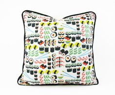 Sushi Pillow Cushion Cover, Japanese Chopsticks Maki Fish Décor, Novelty Throw Pillow, Sushi Cushion Piping, Foodie Gift, Kitchen Pillow