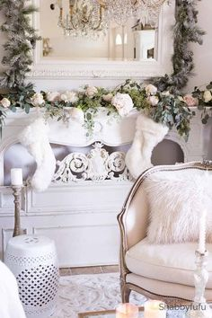 French country Christmas celebration in the living room with a white flocked tree and how to design a similar look. A King of Christmas white flocked tree. French Country Christmas, Modern French Country, French Country Living Room, Shabby Chic Christmas, Farmhouse Christmas Decor, Country Farmhouse Decor, French Country Decorating, White Christmas, Christmas Ideas