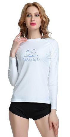 Wetsuits UV Sun Protection Womens Basic Skins Long Sleeve Crew Sun Shirt  Rash Guard - White - C2182SYN58O a9df91053