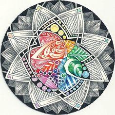 Enthusiastic Artist: Rainbow center zendala by Margaret Bremmer, CZT