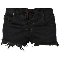 Bitching & Junkfood DAYTONA LACE UP BITCHY SHORTS Shorts (56 AUD) ❤ liked on Polyvore featuring shorts, bottoms, pants, black, pocket shorts, laced shorts and lace up shorts