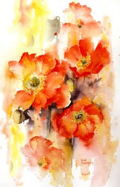 One of the most appealing things in a watercolor painting is the use of lost and found edges as Rachel Mcnaughton has demonstrated here in Lost and Found poppies. So loose and free. Love the vibrant colors in the poppies. Abstract Watercolor, Watercolour Painting, Watercolor Flowers, Painting & Drawing, Watercolors, Painting Flowers, Art Floral, Painting Inspiration, Flower Art