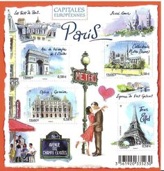 """French stamp set """"European Capitals - Paris"""" issued 2010."""