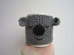 Koala bear coffee cup cozie. Grey and black pure wool.