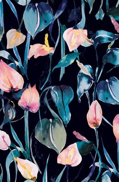 Sneak peak of another work in progress for our new collection. Dark floral blooms with pastels. Graphic Patterns, Textile Patterns, Flower Patterns, Print Patterns, Tumblr Backgrounds, Wallpaper Backgrounds, Wallpapers, Iphone Wallpaper, Surface Pattern Design