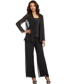 Patra Evening Suit, Sleeveless Beaded Top, Chiffon Jacket & Wide-Leg Pants - Womens Mother of the Bride Dresses - Macy's