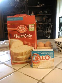 Prepare pound cake as box describes, then add a package of instant cheesecake pudding...bake until toothpick comes out clean...amazing!
