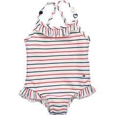 Girls White, Red & Blue Striped Swimsuit, Tommy Hilfiger, Girl