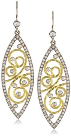 Annie Fensterstock Pave Marquis 22k Yellow Gold and 18k White Gold Diamond Earrings $6,395.41