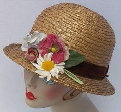 Vtg Antique 1920s Woven Straw Lined Cloche Flapper Hat w Cotton   Velvet  Flowers f6541830df4