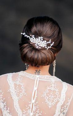 Haarschmuck Perlen Blume Hochzeitsfrisur