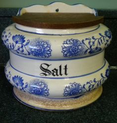 Antique Blue Onion Salt Box I have this Can't wait to bring it out again