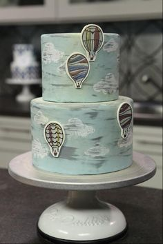 Hot Air Balloon Cake - via Fondant Cakes, Cupcake Cakes, Cupcakes, Beautiful Cakes, Amazing Cakes, Hot Air Balloon Cake, Cake Decorating Classes, Decorating Ideas, Cake Online