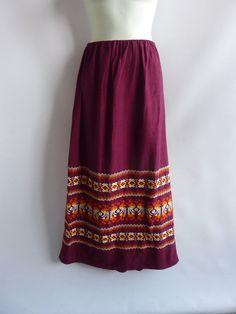 Vintage 60s Skirt size M L Red Burgundy Linen Hippie by jdbok