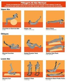 Best Abdominal Exercises For Women - UPPER ABS - Crunches on Exercise Ball (25 reps) Pilates 100 (10 sets of 10 arm pumps) Elbow Plank (Hold for 30 to 60 seconds)   OBLIQUES - Bicycle Crunches (10 sets) Seated Russian Twist (16 full rotations) Twisting Side Plank (8 reps, each side)   LOWER ABS - Reverse Curl (20 reps) Captains Chair (15 to 20 reps) Resistance Band Flutter Kicks (10 to 15 sets) workout