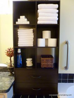 Create a bathroom command center by combining ClosetMaid Stackable Storage and Cubeicals.