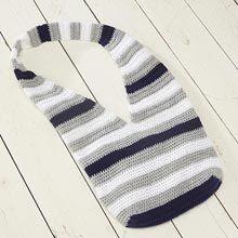 /Crochet Color Pop Bag Willow Yarns™ Wash DK, weight 3  • 0046 Silver Birch—3 balls  • 0024 Snow—2 balls  • 0033 Catalina Blue—2 balls  Hook: US size H-8 (5mm) crochet hook