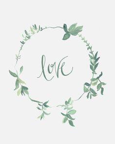 Calligraphy Letters, Typography Letters, Green Wreath, Floral Wreath, Motif Floral, Grafik Design, Illustration Art, Wreaths, Art Prints