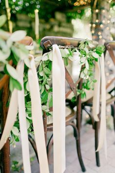ribbons and green for Grecian wedding chairs decor