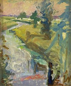 Margaret Thomas (British, The River: Summer Evening. Oil on board, x cm Abstract Landscape, Landscape Paintings, Abstract Art, Paisley Art, Art Uk, City Art, Texture Painting, Beautiful Landscapes, Painting Inspiration