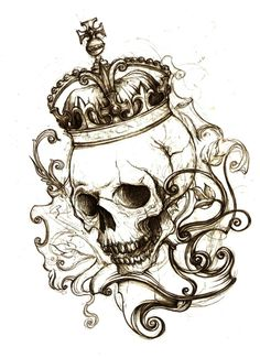 No place. by ~Monochrome-Clown - Traditional Art / Drawings / Macabre Horror (skull crown tattoo)