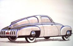 Tucker Torpedo 1946 artist's sketch.  Prototype sketch concept car, basis of 1948 Tucker Torpedo production model, streamlined aerodynamic futuristic retro stylish