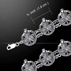 Celtic Knotwork Shamrock & Claddagh Silver Bracelet 52-TBG767 - Buy from By The Sword, Inc.  103