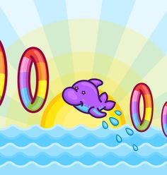 Dolphins jumping through rainbow hoops! Rainbow Pride, Dolphins, Underwater, Kawaii, Kitty, Cool Stuff, Illustration, Outdoor Decor, Ocean