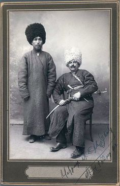 Two Khans in Turkoman Tribal Costume, One of 274 Vintage Photographs Medium: Silver matte collodion photograph Dates: 1912 Dynasty: Qajar Iran Pictures, Old Pictures, Old Photos, Turkish Soldiers, Semitic Languages, Tribal Costume, Silk Road, Vintage Photographs, Vintage Photos