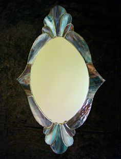 Victorian stained glass mirror