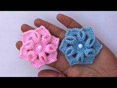 Crochet flower making Crochet Flower Patterns, Crochet Flowers, Wine Bottle Crafts, Flower Making, Crochet Baby, Embellishments, Cross Stitch, Make It Yourself, Embroidery