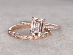 2pc 6x8mm Morganite Engagement ring Set Rose gold,Diamond wedding band,14k,Emerald Cut,Gemstone Promise Bridal Ring,Claw Prongs,Pave Set by popRing on popRing