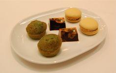 Petit Fours - mugwort (쑥) financier, mango chocolate & ginseng macaroon @Jungsik, NYC (March 2012)