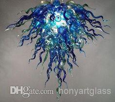 Kostenloser Versand Blumen Form Blue Crystal Art Lüster Aus Mundgeblasenem Glas Beleuchtung Von Honyartglass