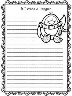 winter snow lined writing paper larger lines for little writers     Enchanted Learning