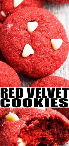Quick and easy red velvet cookies recipe, made with 5 simple ingredients. Starts off with cake mix, soft and chewy, loaded with white chocolate chips. Cookie Recipes From Scratch, Best Cookie Recipes, Best Dessert Recipes, Fun Desserts, Sweet Recipes, Baking Recipes, Delicious Desserts, Red Velvet Cookie Recipe, Red Velvet Cookies