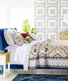 Tan & Blue Monte Carlo Reversible Quilt Set #ad