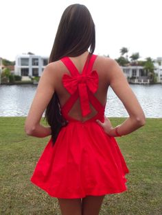 Red. Bows. Backless.