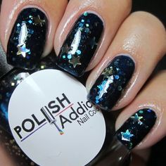Polish Addict - Supernova Stars. A navy/blue jelly with blue shimmer, green/gold/purple/blue micro-chameleon glitters and a mix of holo gold glitters.