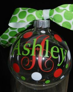 Personalized Christmas Ornaments...$8 ea. Find me on Facebook @ Petal Pushers, Greenville, SC