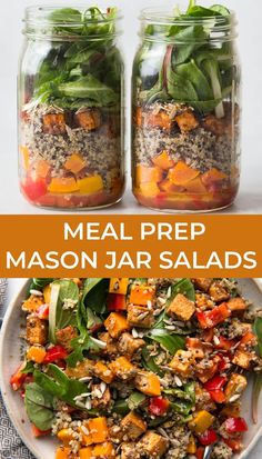 Prep healthy meals for the week ahead with mason jar salads. You can mix and match your favorite protein and vegetables to these mason jar salads! #sponsored #vegan #glutenfree #mealprep #salad Healthy Gluten Free Recipes, Healthy Meals, Tofu Salad, Mason Jar Meals, Salad In A Jar, Picnic Foods, Roasted Butternut Squash, Simply Recipes, Fun Cooking