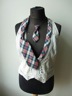 RESERVED Repurposed Necktie Denim Vest Upcycled Recycled