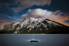 Frozen Lake Minnewanka At Night, Canada,