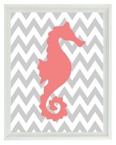 Seahorse Nautical Chevron Sea Creature