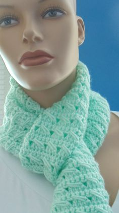 Available at Captola at Etsy.com Gorgeous teal/green scarf made with fancy stitches