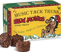 Horse Treats and Toys : Musical Tack Trunk Stud Muffins Musical Singing Tack Trunk Plays music and sings to The Twelve Neighs of Christmas. 24 oz of Stud Muffin Fun! Plays music and sings to The Twelve Neighs of Christmas 12-Nags A Neighing, 11-Colts A Leaping, 10-Grooms A Grooming, 9-Ponies Prancing, 8-Blacksmiths shoeing, 7-Flakes of Hay, 6-Fillies Frollicking, 5-Golden Horseshoes, 4-Shetland Ponies, 3-Geldings Grazing, 2-Scoops of Grain, And a Filly In a Stud Muffin Tree!