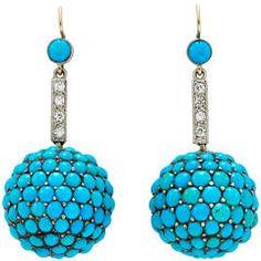 Antique Turquoise Diamond Ear Pendants, ❥❥ht